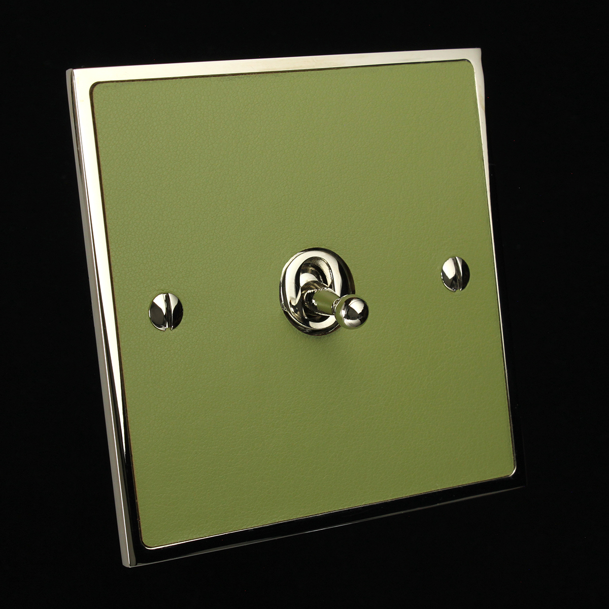 12 polished nickel + peagreen leatherette