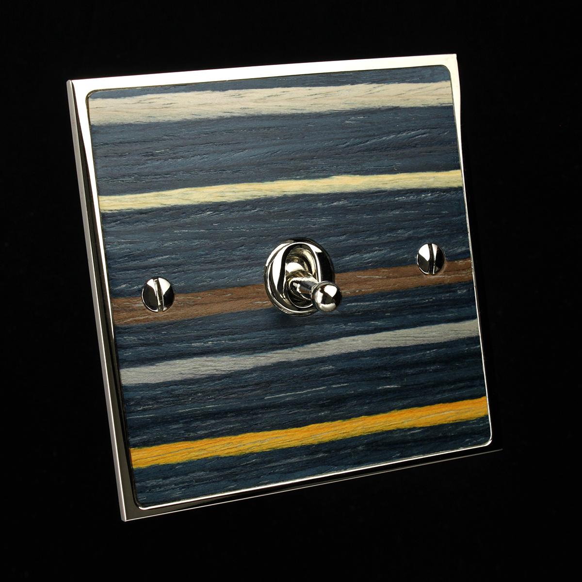 15 polished nickel + blue stripe veneer