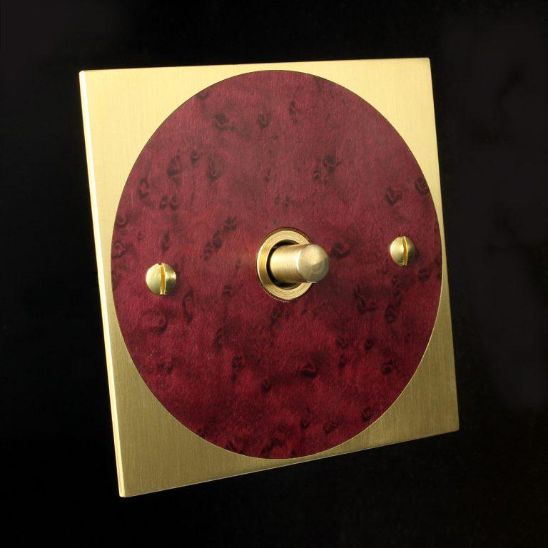 3 brass + red maple round, dimmer